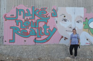 Jagoda Munic, chairperson of Friends of the Earth International, at the wall
