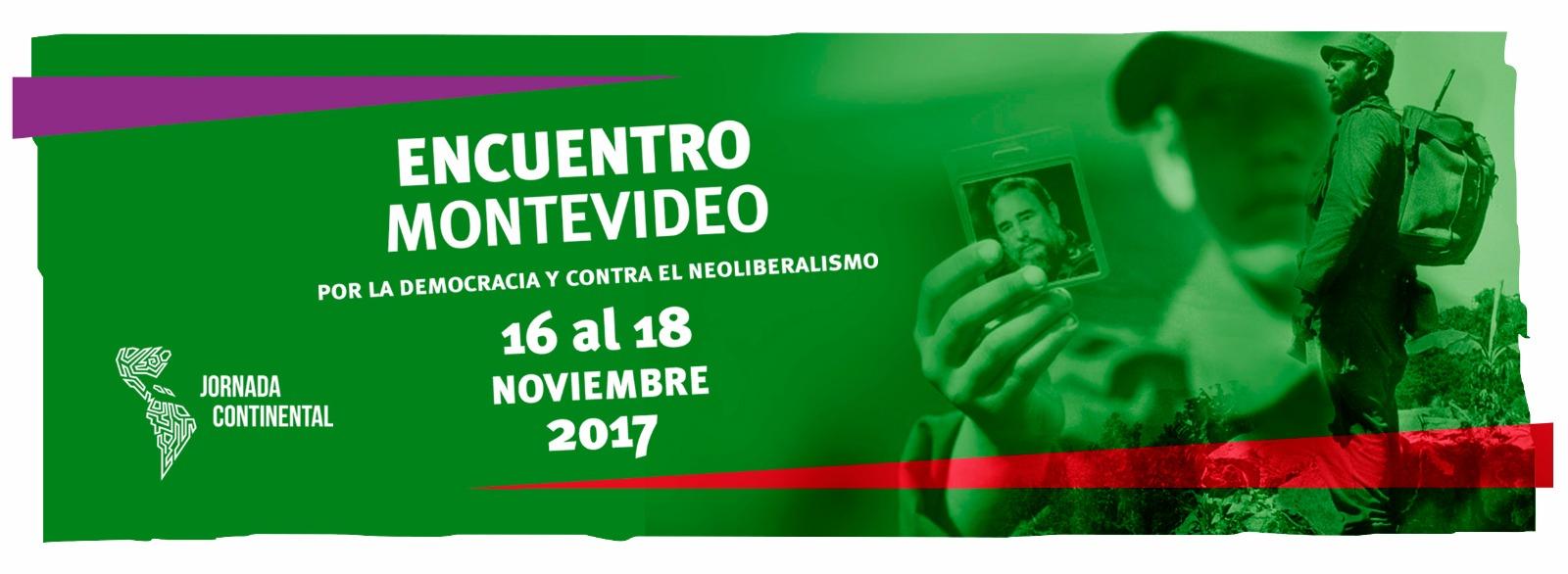 Imagen del homenaje a Fidel Castro en el Encuentro de Montevideo. Jornada Continental