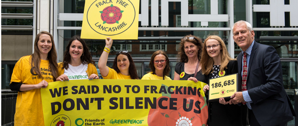 Campaigners from Lancashire, joined by Greenpeace and Friends of the Earth, outside the Home Office DCLG building after delivering the petition of over 180,000 signatures to Downing Street. They are calling on the Government to respect Lancashire's decision to reject fracking. Pictured: (left to right) - Rose Dickenson, Hannah Martin, Claire Stephenson, Gale Hodson, Gina Dowding (Lancashire County Councillor), Cat Smith (MP) and Gordon Marsden (MP) outside the DCLG building
