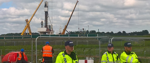 Police guard the fracking site at Preston New Road, Preston, Lancashire