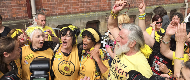 The moment Lancashire County Council rejected Cuadrilla's application to frack at Preston New Road in Little Plumpton, Lancashire. Local residents, Friends of the Earth and anti-fracking protestors outside Lancashire County Council (County Hall), Preston, 24 June 2015.