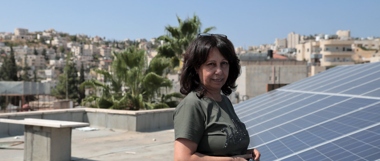 Basma Giacaman, Director at Al Basma Center Arab Women's Union and manager of the solar energy system that runs the whole center's facilities. Credit: Hussein Zohor/PENGON.
