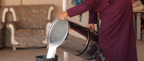 A woman in Ras Al Auja, Jordan Valley, who now uses her own clean energy to run appliances for dairy production.