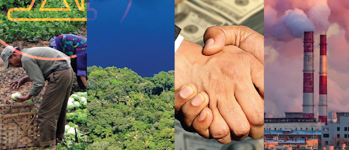 Montage of four images: indigenous farmer, protected land, handshake deal and extractive industry
